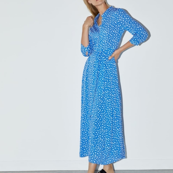 NWT Zara Marilyn Shirt Dress Maxi Dress